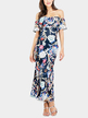 Off Shoulder Random Floral Fishtail Tiered Maxi Dress