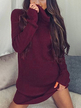 Burgundy Sexy High Neck Long Sleeves Knit Thin Casual Dress