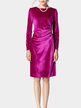Deep Pink Long Sleeve Body-Conscious Velvet Dress
