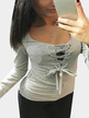 Grey Casual Lace-up Long Sleeves T-shirt