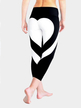 Active Heart Pattern Stitching Elastic Waist Sports Leggings in Black and White