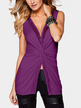 Purple Sexy V Neck Splited Hem Vest