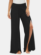 Active Wide Leg Pants With Splited Design in Black