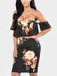 Off Shoulder Random Floral Print Bodycon Dress in Black