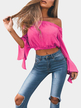 Rose Off-The-Shoulder Long Flared Sleevess Crop Top