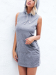Grey Hoodie Sleeveless Mini Dress