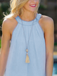 Blue Hollow Out Back Lace Detail Sleeveless Vest