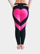 Active Heart Pattern Stitching Elastic Waist Sports Leggings in Black and Rose