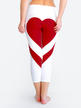 Active Heart Pattern Stitching Elastic Waist Sports Leggings in White and Red