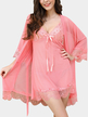 Pink Sexy Lace Detail See-through V-neck Pajama Set