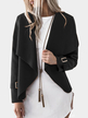 Black Plain Lapel Collar Long Sleeves Woolen Coat