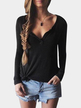 Black Plunge Casual Design Blouse with Long Sleeves