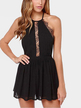 Sexy Chiffon Halter Lace Details Backless Mini Dress in Black