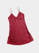 Red Satin V-neck Lace Hem Slip Pajamas