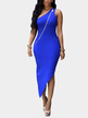 Blue Single Shoulder Dress With Irregular Hem