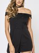 Black Off Shoulder Playsuit with Button Design