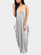 Casual V-neck Sleevesless Side Pockets Maxi Dress in Silver