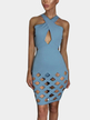 Blue Cross-front Cut Out Hollow Details Mini Dress