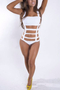 Strappy Cutout Hollow Design One Piece Swimsuit in White