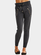 Dark Gray Drawstring Waist Trousers With Zipper Pockets