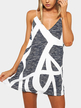 Random Geometrical Print Sleeveless Mini Dress