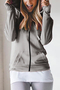Grey Hooded Design Long Sleeves Sweatshirt