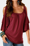 Burgundy Tiered Design Cold Shoulder Half Sleeves T-shirts