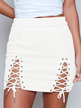 White Lace-up Design Bodycon Skirt