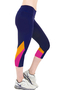 Blue Cropped Sport Leggings with Contrast Side Panel