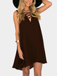 Brown Sleeveless Cross Front Mini Dress