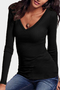 Black V-neck Long Sleeves T-shirt