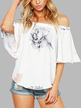 Random Floral Print Elastic Off Shoulder Chiffon Blouse in White