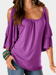 Purple Tiered Design Cold Shoulder Half Sleeves T-shirts