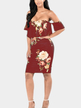 Off Shoulder Random Floral Print Bodycon Dress in Purplish Red