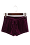 Burgundy Casual Velvet Drawstring Waist Sport Shorts with Folds Details