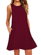 Burgundy Round Neck Side Pockets Mini Dress