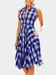 Blue Grid Pattern English Collar Sleeveless Dress
