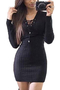 Black Knitted V-neck Lace-up Front Mini Dress
