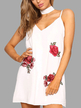 White Sleeveless Random Rose Embroidery Sexy V-neck Halter Mini Dress With Chocker