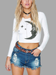 White Long Sleeves Pattern Front Crop T-shirt