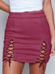 Rust Lace-up Design Bodycon Skirt
