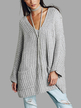 Oversize Light Grey Raglan Sleeve Pocket Front Plunge Sweater