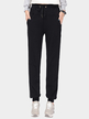 Black Plus Velvet Elastic Waist Casual Trousers