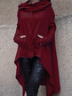 Burgundy Hoodie Sweatshirt with Irregular Hem