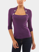 Dark Purple Stand Collar Long Sleeves Top with Button Details