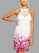 White Fashion Halter Lace Cut Out Sleeveless Random Floral Print Dress