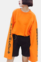 Active Round Neck Flared Sleeves Sweatshirts in Orange
