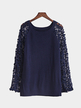 Round Neck Lace Details T-shirt with Hollow Sleeves Design