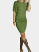 Casual Bodycon Midi Wrap Asymmetrical Dress in Aemy Green