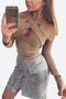 Khaki Crossed Front Body-con Cropped Top